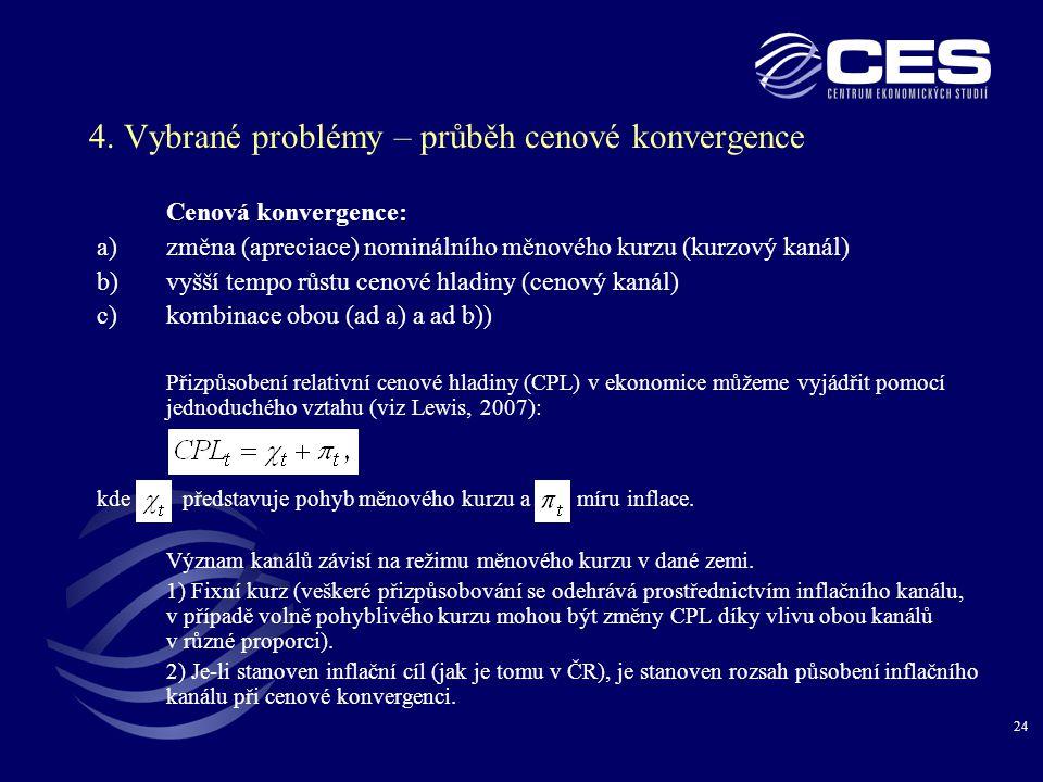 24 4. Vybrané problémy – průběh cenové konvergence Cenová konvergence: a)změna (apreciace) nominálního měnového kurzu (kurzový kanál) b)vyšší tempo rů