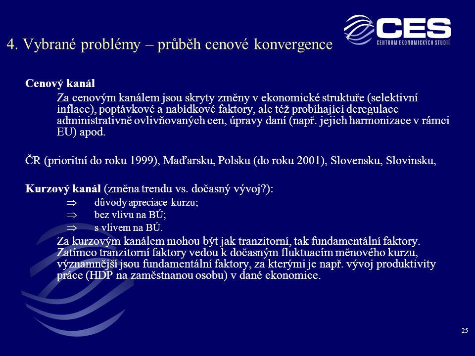 25 4. Vybrané problémy – průběh cenové konvergence Cenový kanál Za cenovým kanálem jsou skryty změny v ekonomické struktuře (selektivní inflace), popt