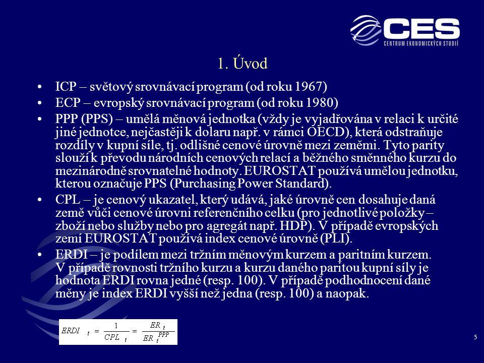 5 1. Úvod ICP – světový srovnávací program (od roku 1967) ECP – evropský srovnávací program (od roku 1980) PPP (PPS) – umělá měnová jednotka (vždy je