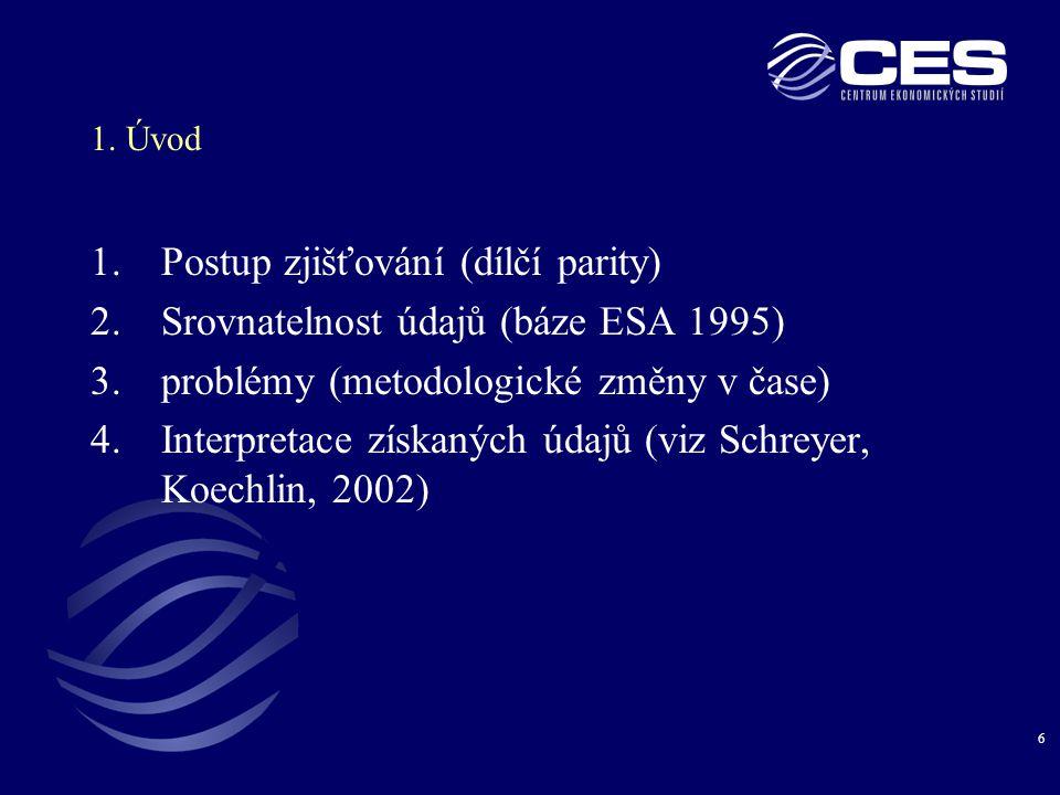 6 1. Úvod 1.Postup zjišťování (dílčí parity) 2.Srovnatelnost údajů (báze ESA 1995) 3.problémy (metodologické změny v čase) 4.Interpretace získaných úd