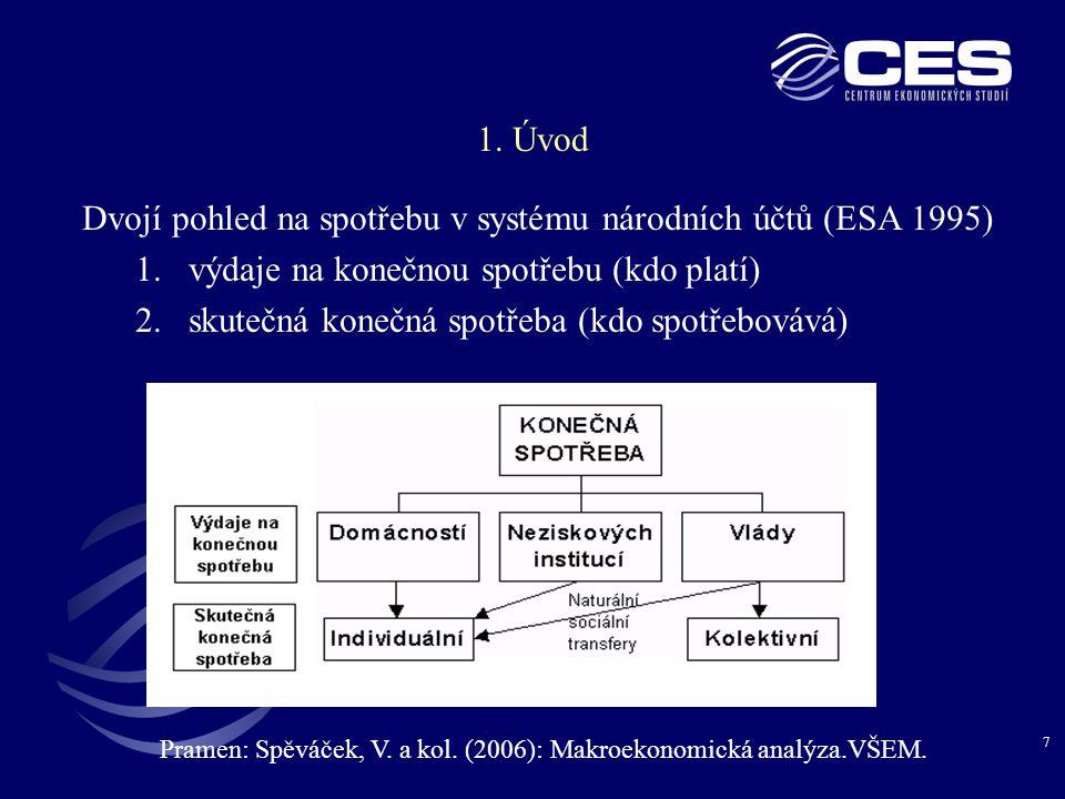 7 1. Úvod Dvojí pohled na spotřebu v systému národních účtů (ESA 1995) 1.výdaje na konečnou spotřebu (kdo platí) 2.skutečná konečná spotřeba (kdo spot