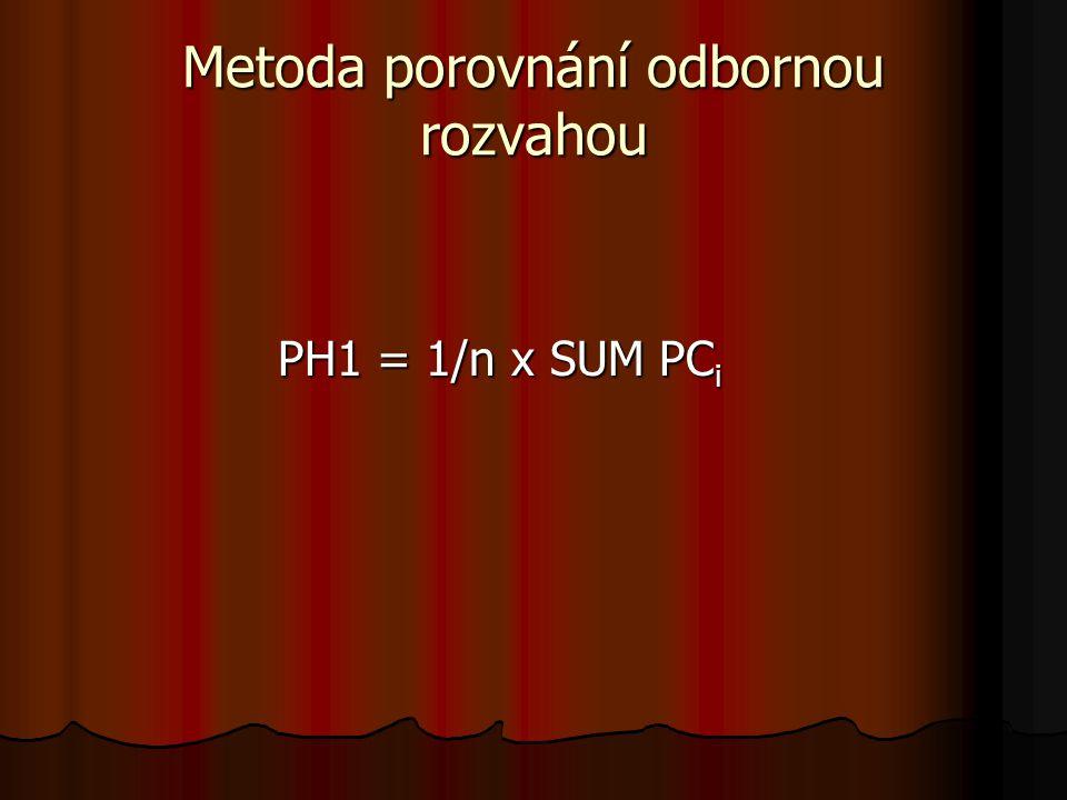 Metoda porovnání odbornou rozvahou PH1 = 1/n x SUM PC i
