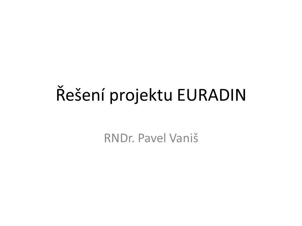 Řešení projektu EURADIN RNDr. Pavel Vaniš