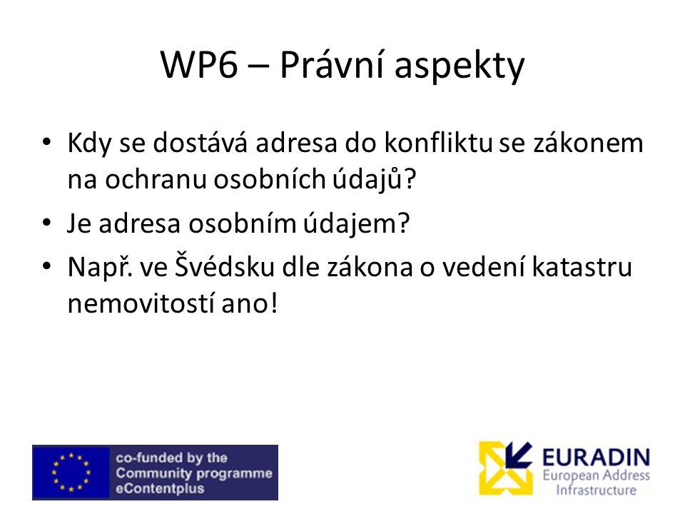 WP6 – Právní aspekty Kdy se dostává adresa do konfliktu se zákonem na ochranu osobních údajů? Je adresa osobním údajem? Např. ve Švédsku dle zákona o