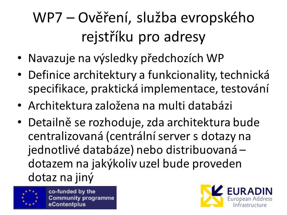 WP7 – Ověření, služba evropského rejstříku pro adresy Navazuje na výsledky předchozích WP Definice architektury a funkcionality, technická specifikace, praktická implementace, testování Architektura založena na multi databázi Detailně se rozhoduje, zda architektura bude centralizovaná (centrální server s dotazy na jednotlivé databáze) nebo distribuovaná – dotazem na jakýkoliv uzel bude proveden dotaz na jiný