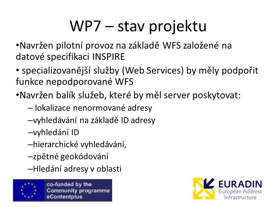 WP7 – stav projektu Navržen pilotní provoz na základě WFS založené na datové specifikaci INSPIRE specializovanější služby (Web Services) by měly podpořit funkce nepodporované WFS Navržen balík služeb, které by měl server poskytovat: – lokalizace nenormované adresy – vyhledávání na základě ID adresy – vyhledání ID – hierarchické vyhledávání, – zpětné geokódování – Hledání adresy v oblasti