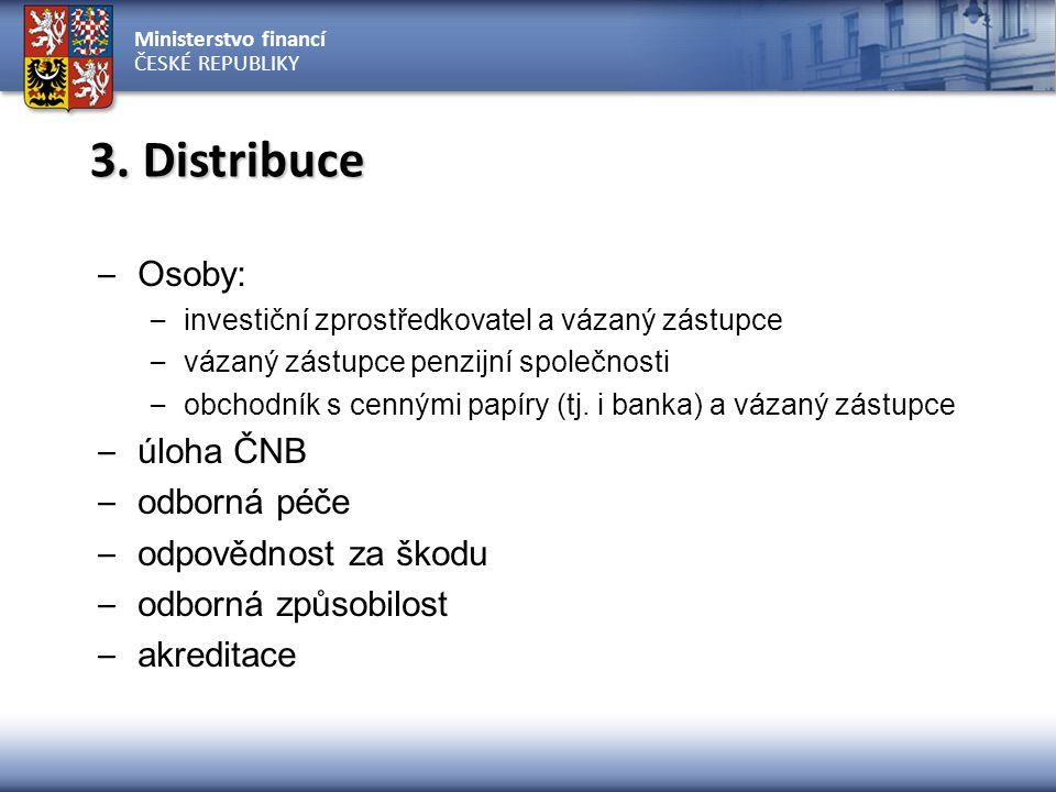 Ministerstvo financí ČESKÉ REPUBLIKY – Osoby: – investiční zprostředkovatel a vázaný zástupce – vázaný zástupce penzijní společnosti – obchodník s cennými papíry (tj.