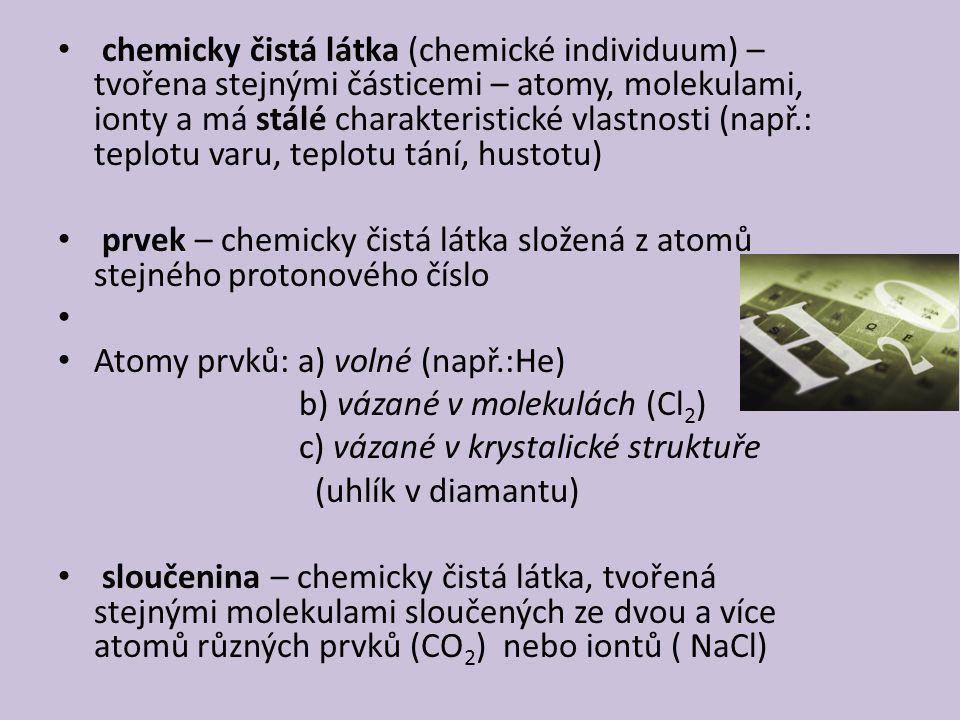 chemicky čistá látka (chemické individuum) – tvořena stejnými částicemi – atomy, molekulami, ionty a má stálé charakteristické vlastnosti (např.: teplotu varu, teplotu tání, hustotu) prvek – chemicky čistá látka složená z atomů stejného protonového číslo Atomy prvků: a) volné (např.:He) b) vázané v molekulách (Cl 2 ) c) vázané v krystalické struktuře (uhlík v diamantu) sloučenina – chemicky čistá látka, tvořená stejnými molekulami sloučených ze dvou a více atomů různých prvků (CO 2 ) nebo iontů ( NaCl)