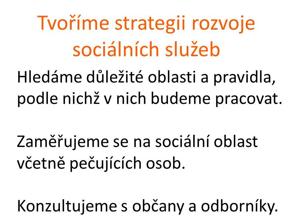 Tvoříme strategii rozvoje sociálních služeb Hledáme důležité oblasti a pravidla, podle nichž v nich budeme pracovat.