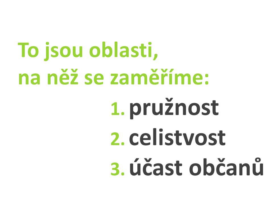 To jsou oblasti, na něž se zaměříme: 1. pružnost 2. celistvost 3. účast občanů