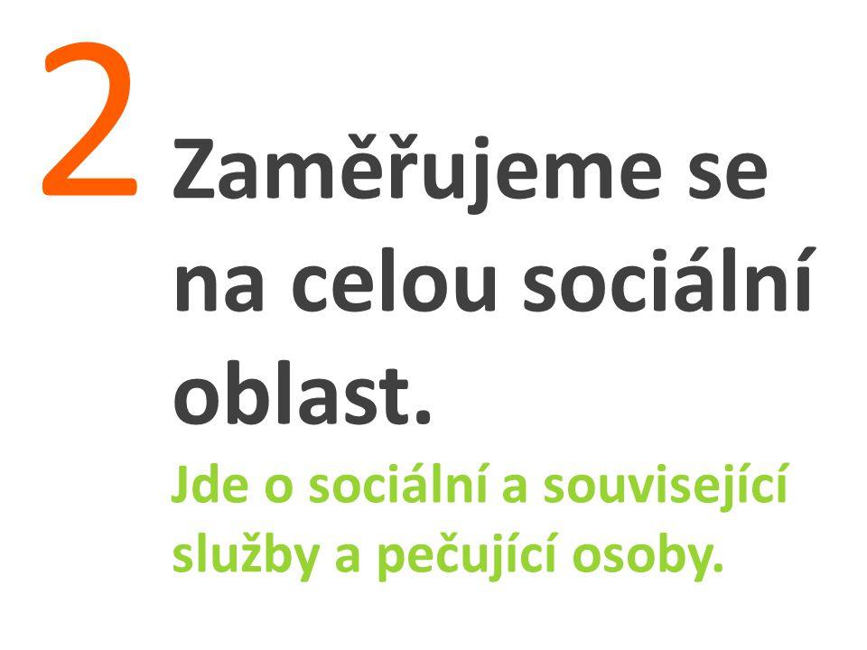 Zaměřujeme se na celou sociální oblast. Jde o sociální a související služby a pečující osoby. 2