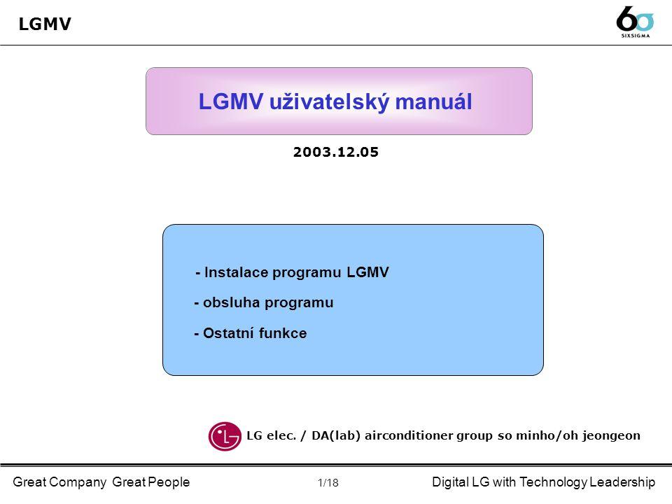 Great Company Great PeopleDigital LG with Technology Leadership Uživatelský manuál ◈ Popis programu(LGMV Light #4) : hlášení poruch (napětí/proud) ▶ Error ① ERR.