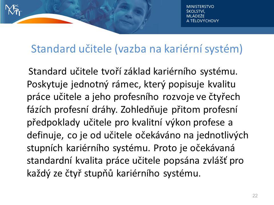 Standard učitele (vazba na kariérní systém) Standard učitele tvoří základ kariérního systému. Poskytuje jednotný rámec, který popisuje kvalitu práce u