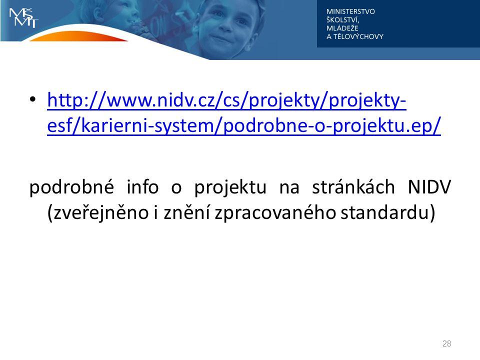 http://www.nidv.cz/cs/projekty/projekty- esf/karierni-system/podrobne-o-projektu.ep/ http://www.nidv.cz/cs/projekty/projekty- esf/karierni-system/podr