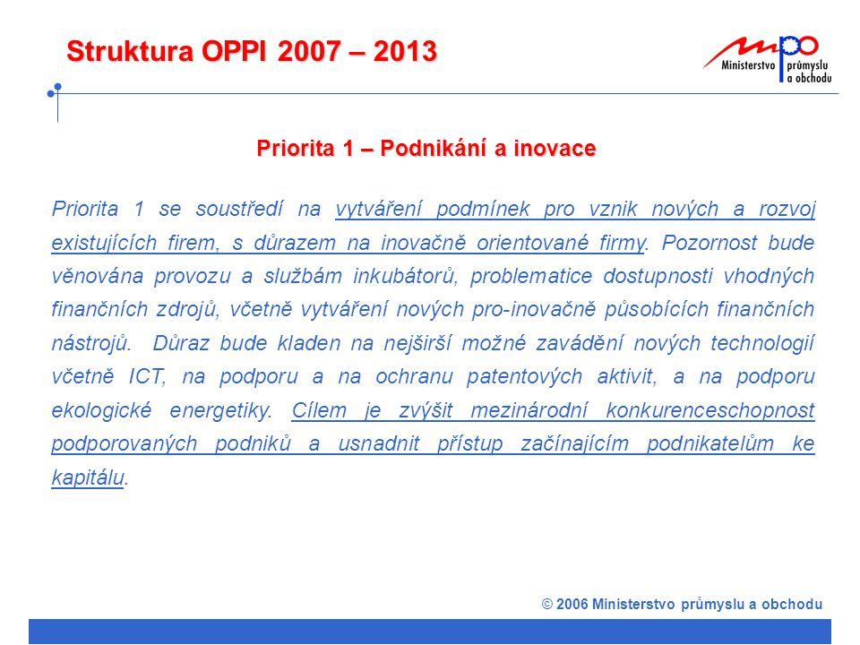 © 2006 Ministerstvo průmyslu a obchodu Struktura OPPI 2007 – 2013 Priorita 1 – Podnikání a inovace Priorita 1 se soustředí na vytváření podmínek pro vznik nových a rozvoj existujících firem, s důrazem na inovačně orientované firmy.