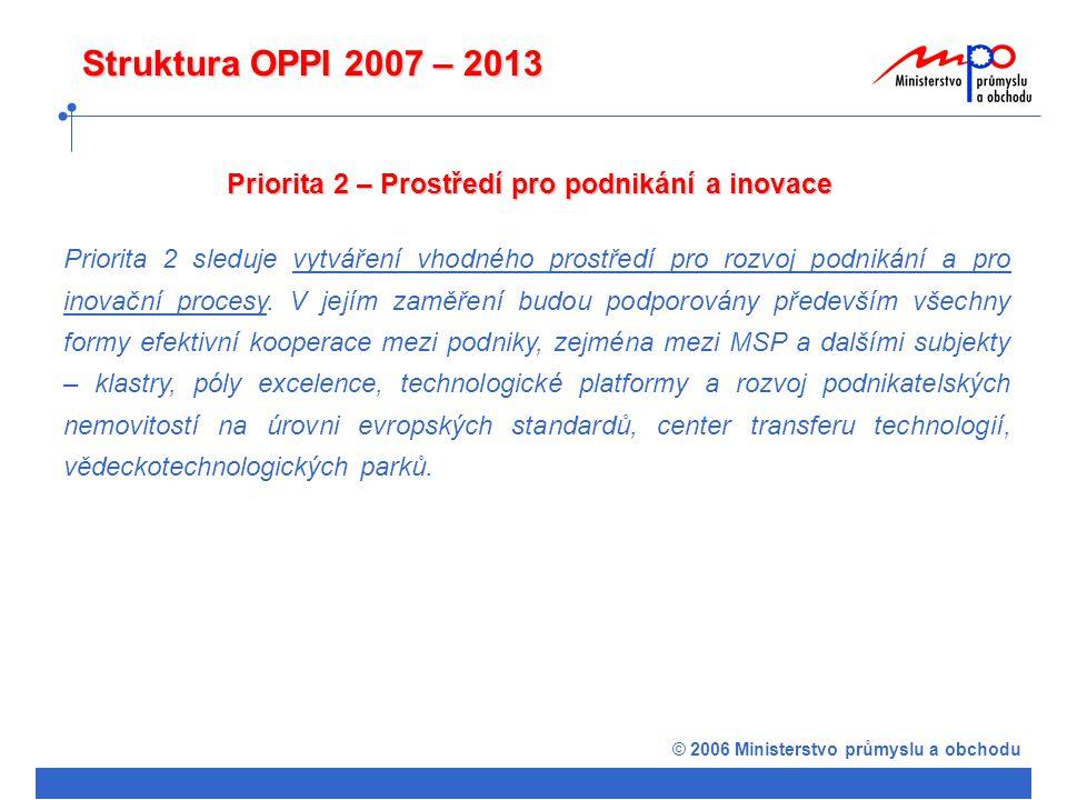 © 2006 Ministerstvo průmyslu a obchodu Struktura OPPI 2007 – 2013 Priorita 2 – Prostředí pro podnikání a inovace Priorita 2 sleduje vytváření vhodného prostředí pro rozvoj podnikání a pro inovační procesy.