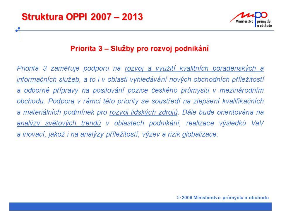 © 2006 Ministerstvo průmyslu a obchodu Struktura OPPI 2007 – 2013 Priorita 3 – Služby pro rozvoj podnikání Priorita 3 zaměřuje podporu na rozvoj a využití kvalitních poradenských a informačních služeb, a to i v oblasti vyhledávání nových obchodních příležitostí a odborné přípravy na posilování pozice českého průmyslu v mezinárodním obchodu.