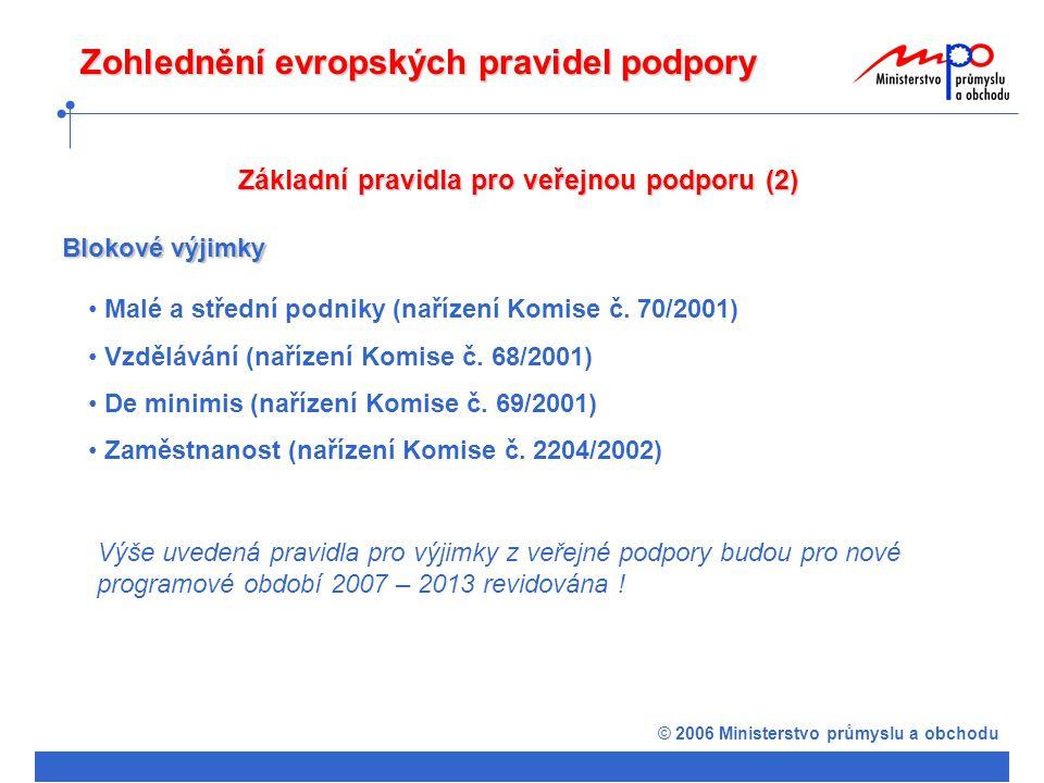 © 2006 Ministerstvo průmyslu a obchodu Základní pravidla pro veřejnou podporu (2) Blokové výjimky Malé a střední podniky (nařízení Komise č.