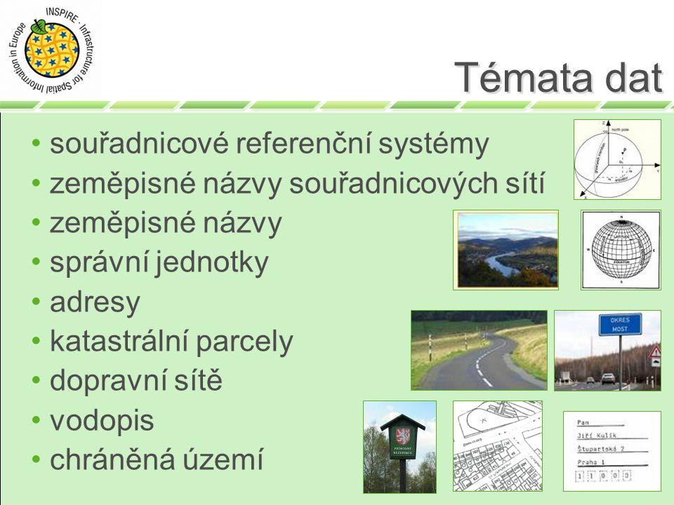 Témata dat souřadnicové referenční systémy zeměpisné názvy souřadnicových sítí zeměpisné názvy správní jednotky adresy katastrální parcely dopravní sítě vodopis chráněná území