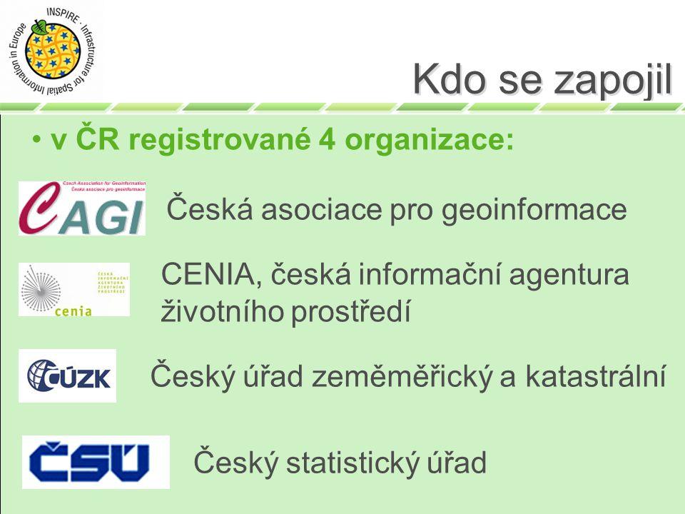 Kdo se zapojil v ČR registrované 4 organizace: Česká asociace pro geoinformace CENIA, česká informační agentura životního prostředí Český úřad zeměměřický a katastrální Český statistický úřad
