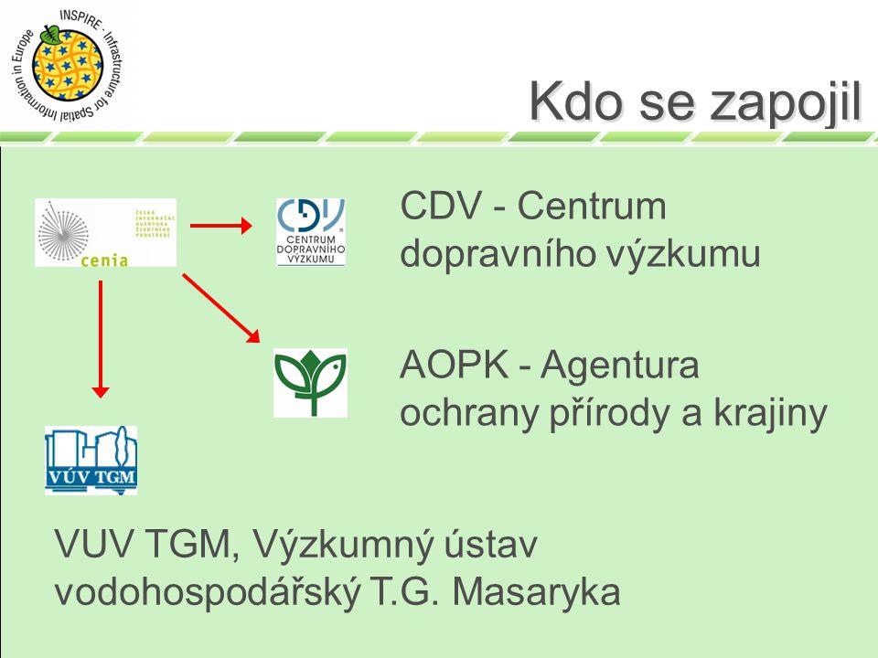 Kdo se zapojil CDV - Centrum dopravního výzkumu AOPK - Agentura ochrany přírody a krajiny VUV TGM, Výzkumný ústav vodohospodářský T.G. Masaryka