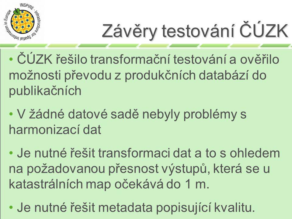 ČÚZK řešilo transformační testování a ověřilo možnosti převodu z produkčních databází do publikačních V žádné datové sadě nebyly problémy s harmonizac