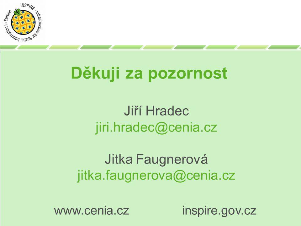 Děkuji za pozornost Jiří Hradec jiri.hradec@cenia.cz Jitka Faugnerová jitka.faugnerova@cenia.cz www.cenia.cz inspire.gov.cz
