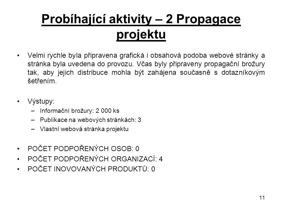 11 Probíhající aktivity – 2 Propagace projektu Velmi rychle byla připravena grafická i obsahová podoba webové stránky a stránka byla uvedena do provozu.