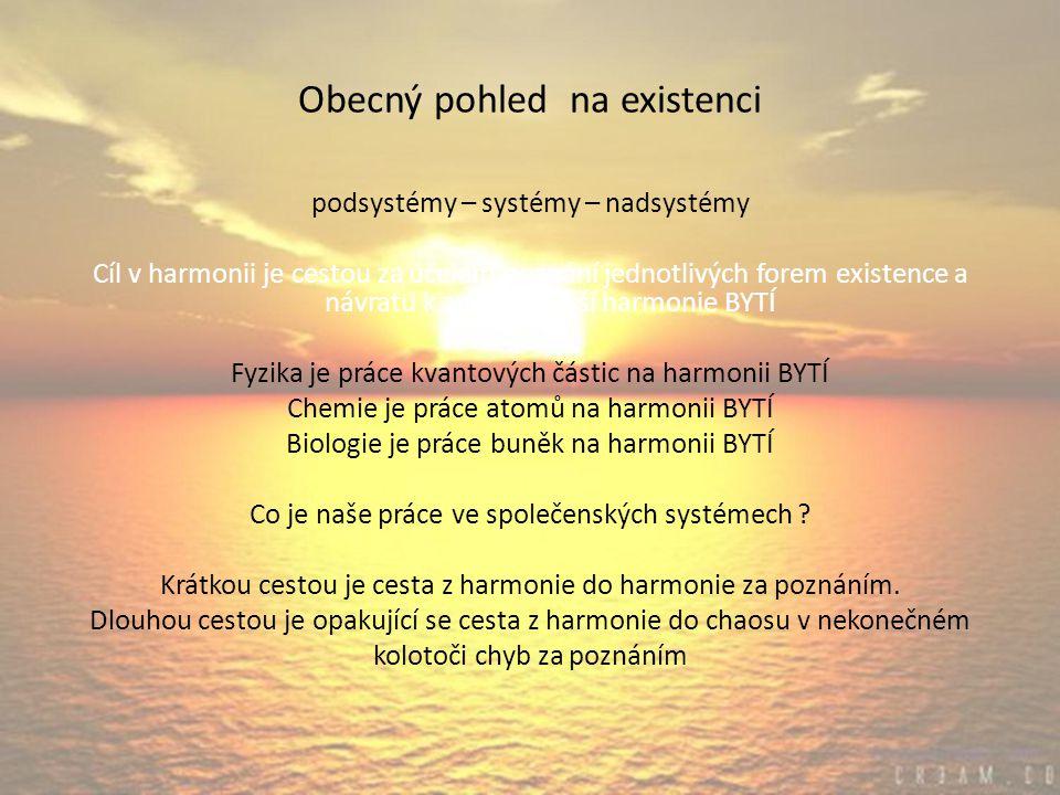 Obecný pohled na existenci podsystémy – systémy – nadsystémy Cíl v harmonii je cestou za účelem poznání jednotlivých forem existence a návratu k zpět do vyšší harmonie BYTÍ Fyzika je práce kvantových částic na harmonii BYTÍ Chemie je práce atomů na harmonii BYTÍ Biologie je práce buněk na harmonii BYTÍ Co je naše práce ve společenských systémech .