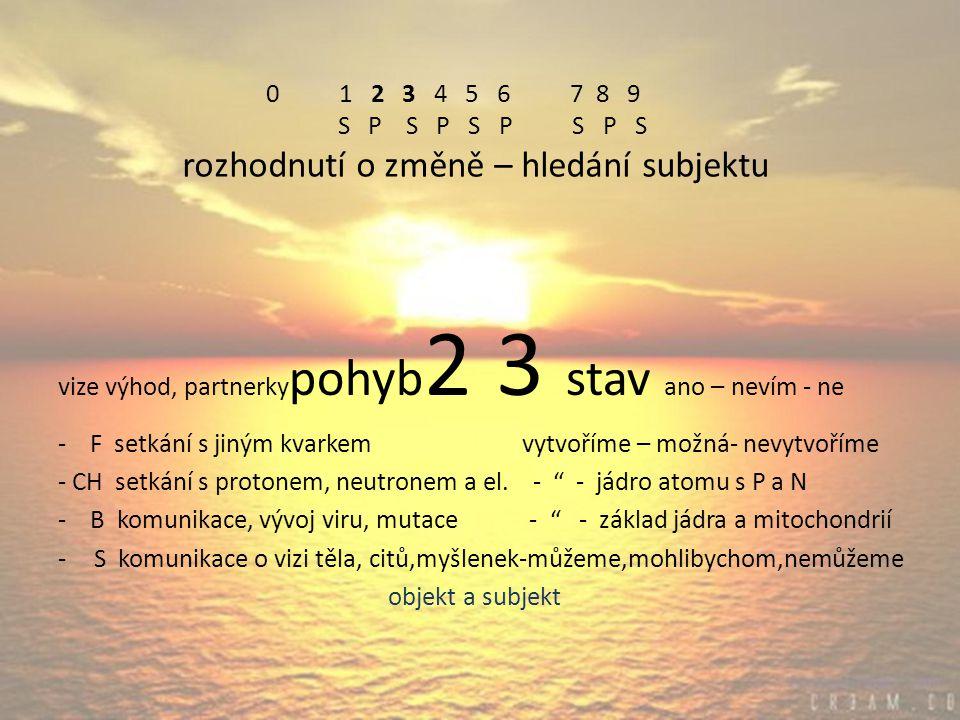 0 1 2 3 4 5 6 7 8 9 S P S P S P S P S rozhodnutí o změně – hledání subjektu vize výhod, partnerky pohyb 2 3 stav ano – nevím - ne - F setkání s jiným kvarkem vytvoříme – možná- nevytvoříme - CH setkání s protonem, neutronem a el.