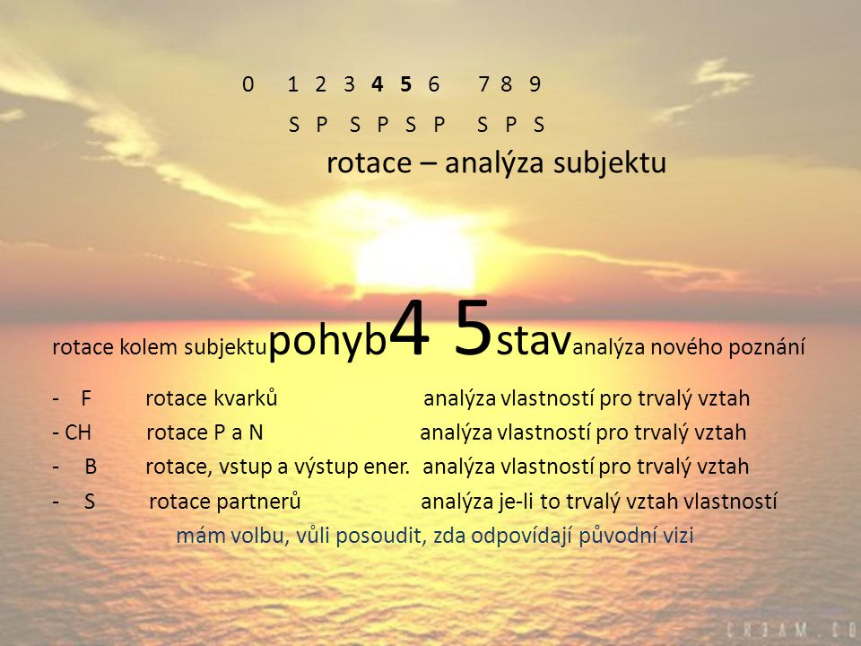 0 1 2 3 4 5 6 7 8 9 S P S P S P S P S rotace – analýza subjektu rotace kolem subjektu pohyb 4 5 stav analýza nového poznání - F rotace kvarků analýza vlastností pro trvalý vztah - CH rotace P a N analýza vlastností pro trvalý vztah -B rotace, vstup a výstup ener.