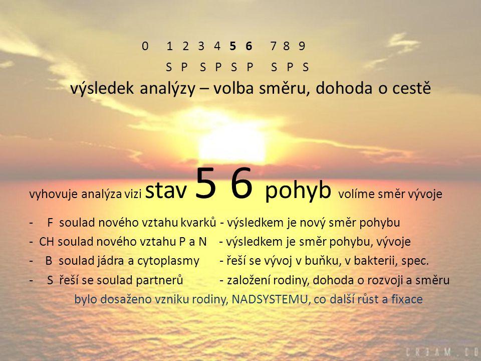0 1 2 3 4 5 6 7 8 9 S P S P S P S P S výsledek analýzy – volba směru, dohoda o cestě vyhovuje analýza vizi stav 5 6 pohyb volíme směr vývoje -F soulad nového vztahu kvarků - výsledkem je nový směr pohybu - CH soulad nového vztahu P a N - výsledkem je směr pohybu, vývoje - B soulad jádra a cytoplasmy - řeší se vývoj v buňku, v bakterii, spec.