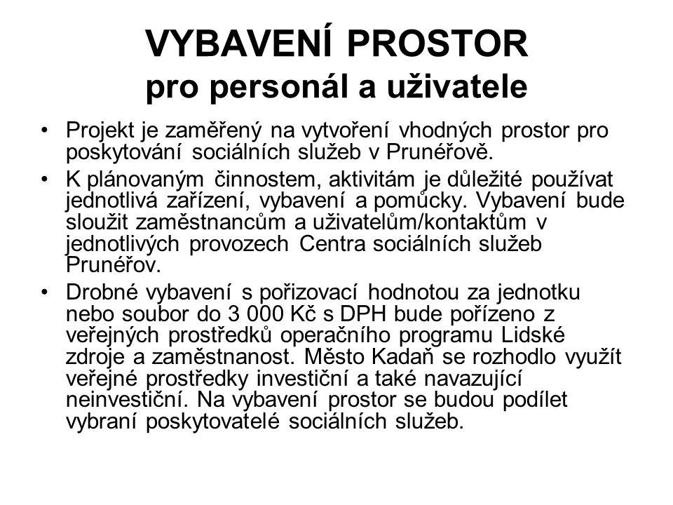 VYBAVENÍ PROSTOR pro personál a uživatele Projekt je zaměřený na vytvoření vhodných prostor pro poskytování sociálních služeb v Prunéřově.