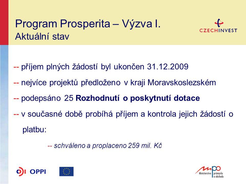 Program Prosperita – Výzva I.