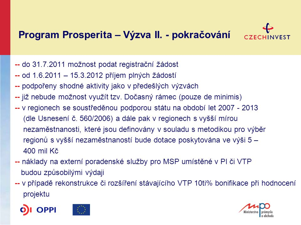 Program Prosperita – Výzva II.