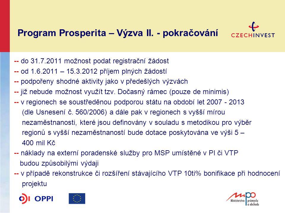Program Prosperita –Výzva II.