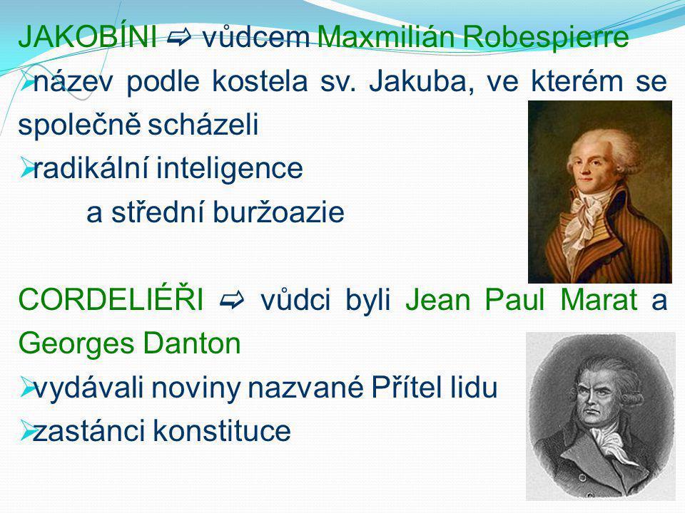JAKOBÍNI  vůdcem Maxmilián Robespierre  název podle kostela sv.
