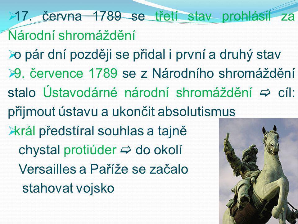  17. června 1789 se třetí stav prohlásil za Národní shromáždění  o pár dní později se přidal i první a druhý stav  9. července 1789 se z Národního