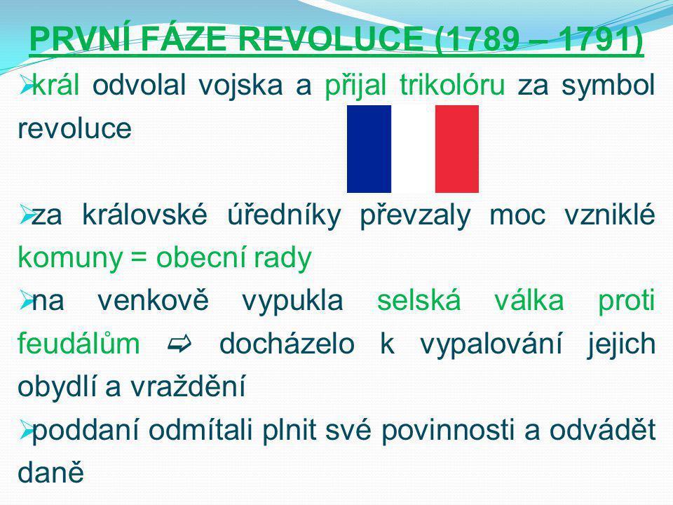 PRVNÍ FÁZE REVOLUCE (1789 – 1791)  král odvolal vojska a přijal trikolóru za symbol revoluce  za královské úředníky převzaly moc vzniklé komuny = obecní rady  na venkově vypukla selská válka proti feudálům  docházelo k vypalování jejich obydlí a vraždění  poddaní odmítali plnit své povinnosti a odvádět daně