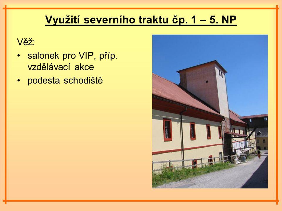 Využití severního traktu čp. 1 – 5. NP Věž: salonek pro VIP, příp.
