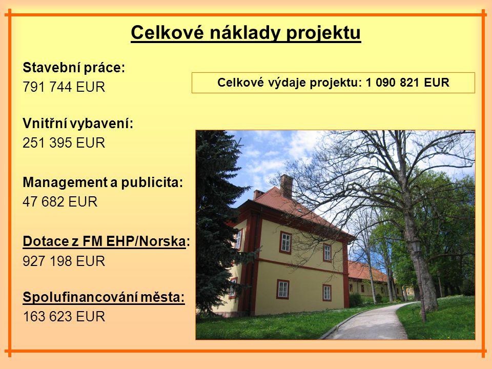 Celkové náklady projektu Stavební práce: 791 744 EUR Vnitřní vybavení: 251 395 EUR Management a publicita: 47 682 EUR Dotace z FM EHP/Norska: 927 198 EUR Spolufinancování města: 163 623 EUR Celkové výdaje projektu: 1 090 821 EUR