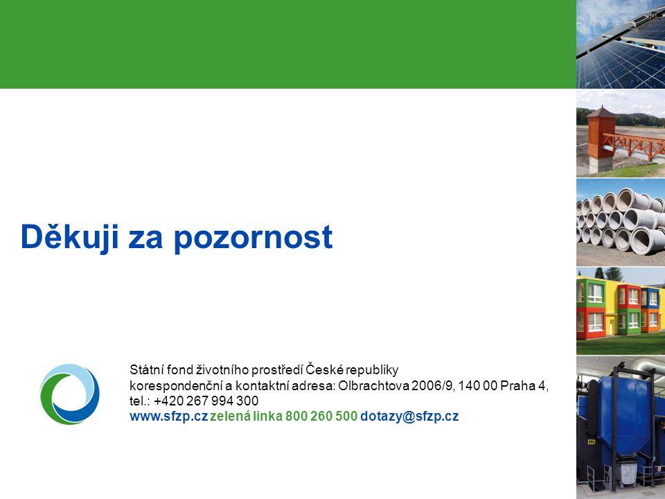16 Děkuji za pozornost Státní fond životního prostředí České republiky korespondenční a kontaktní adresa: Olbrachtova 2006/9, 140 00 Praha 4, tel.: +4
