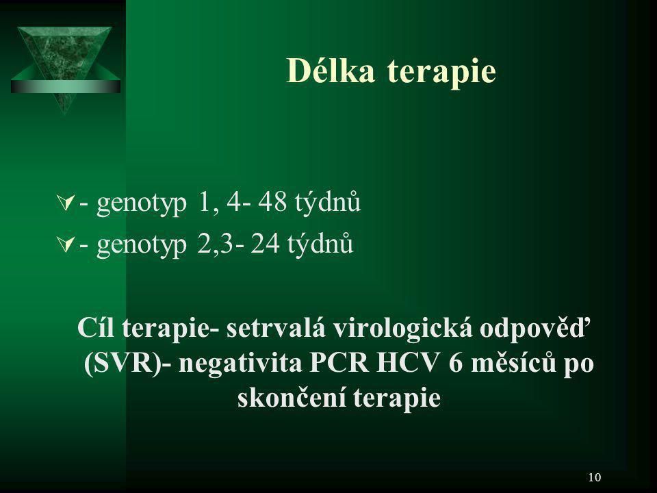 10 Délka terapie  - genotyp 1, 4- 48 týdnů  - genotyp 2,3- 24 týdnů Cíl terapie- setrvalá virologická odpověď (SVR)- negativita PCR HCV 6 měsíců po