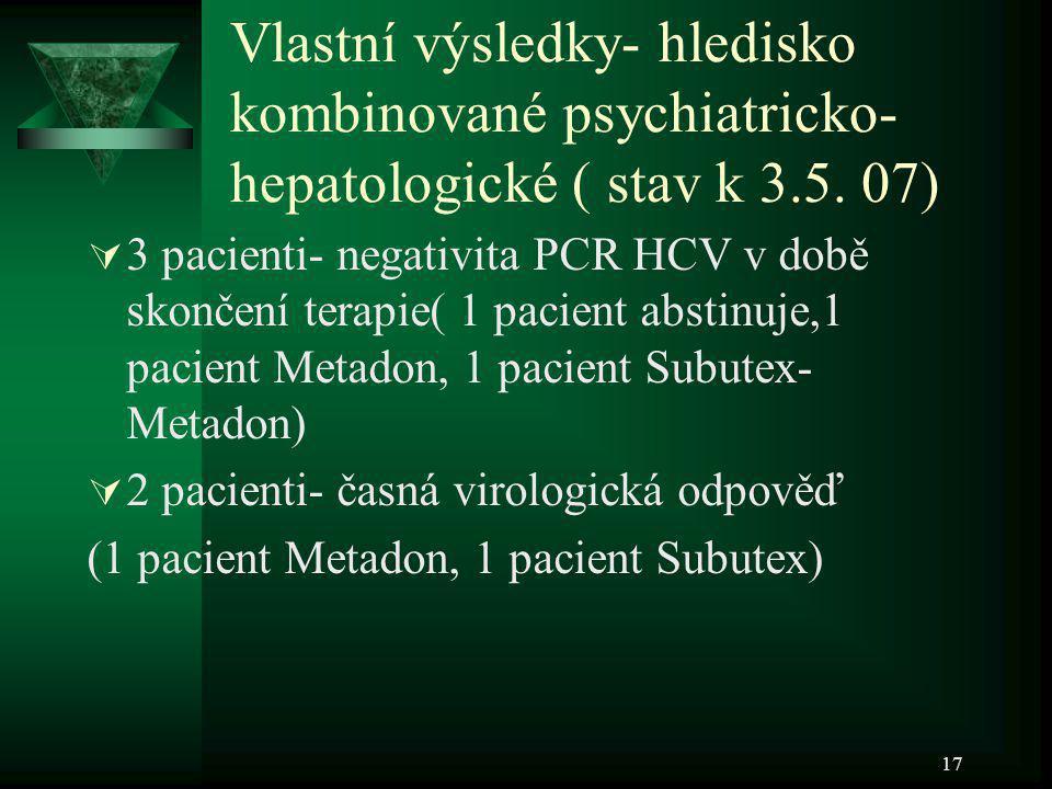 17 Vlastní výsledky- hledisko kombinované psychiatricko- hepatologické ( stav k 3.5. 07)  3 pacienti- negativita PCR HCV v době skončení terapie( 1 p