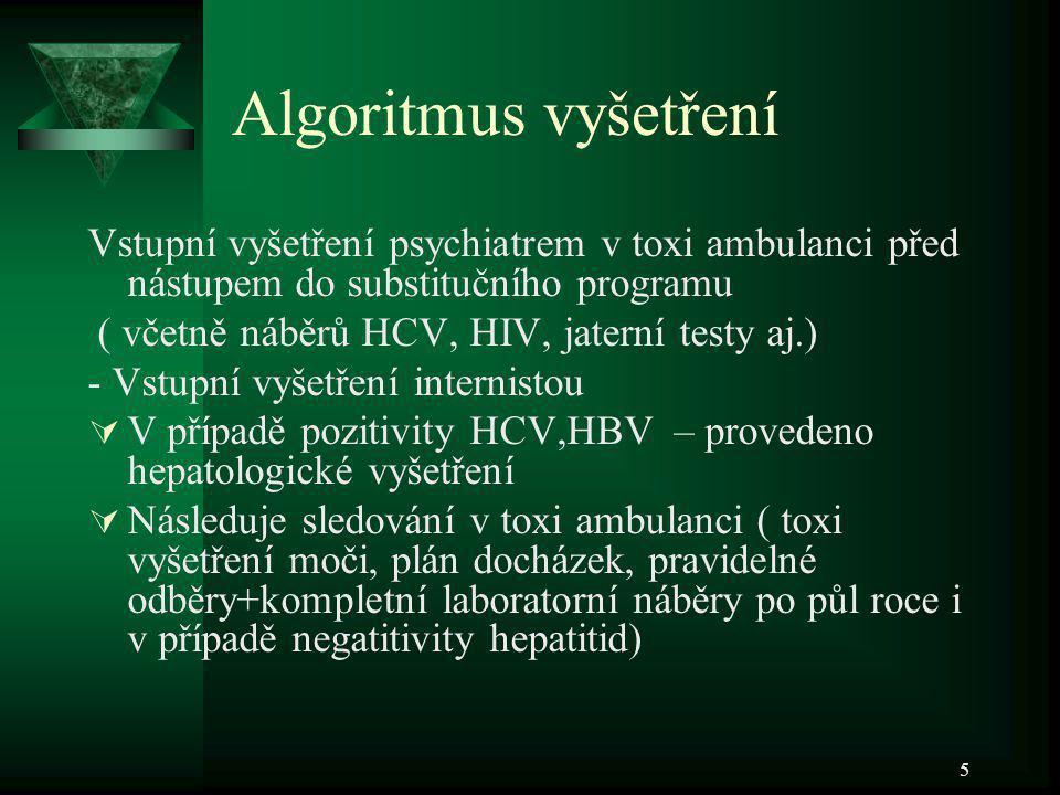 5 Algoritmus vyšetření Vstupní vyšetření psychiatrem v toxi ambulanci před nástupem do substitučního programu ( včetně náběrů HCV, HIV, jaterní testy