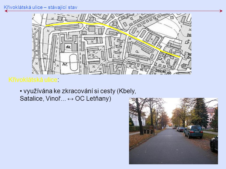 Křivoklátská ulice – stávající stav Křivoklátská ulice: využívána ke zkracování si cesty (Kbely, Satalice, Vinoř... ↔ OC Letňany)