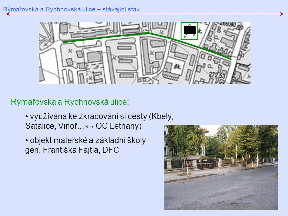 Rýmařovská a Rychnovská ulice – stávající stav Rýmařovská a Rychnovská ulice: využívána ke zkracování si cesty (Kbely, Satalice, Vinoř... ↔ OC Letňany