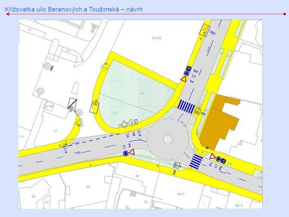 Křižovatka ulic Beranových a Toužimská – návrh