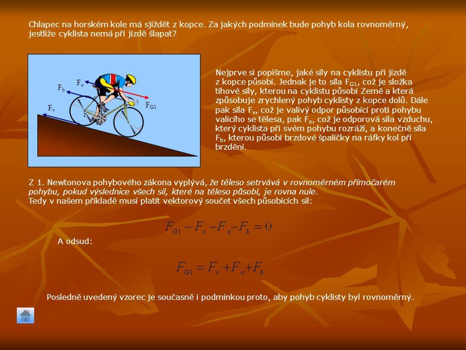 Chlapec na horském kole má sjíždět z kopce. Za jakých podmínek bude pohyb kola rovnoměrný, jestliže cyklista nemá při jízdě šlapat? F G1 FvFv FoFo FbF