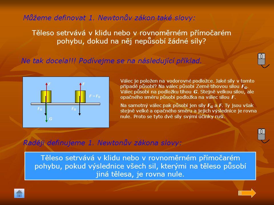 Můžeme definovat 1. Newtonův zákon také slovy: Těleso setrvává v klidu nebo v rovnoměrném přímočarém pohybu, dokud na něj nepůsobí žádné síly? Ne tak
